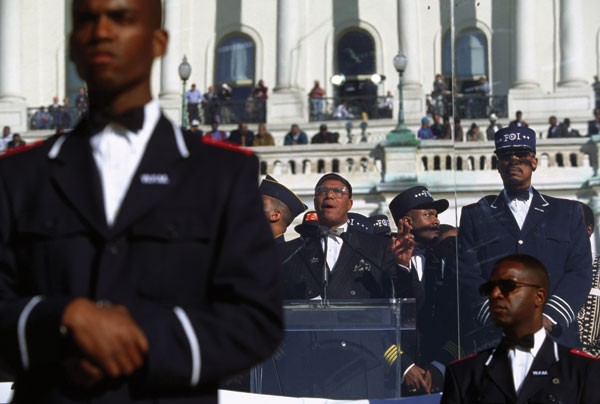 Minister Louis Farrakhan speaks at the Million Man March on October 17, 1995.   - DENNIS BRACK/NEWSCOM