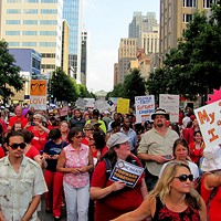 Moral Monday protesters gather in Raleigh in July.