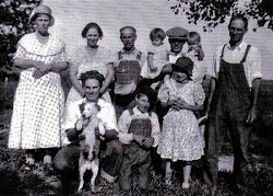 My Nebraska ancestors, circa 1933, on their cattle ranch. My grandmother is one of the toddler twins on the back row.