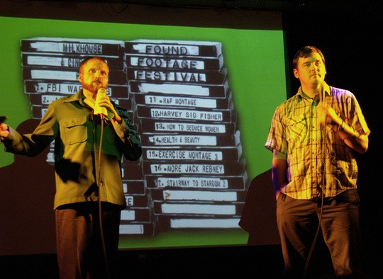 Nick Prueher and Joe Pickett introduce a video clip at a recent Found Footage Festival stop in New York.