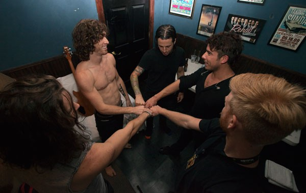 Nothing More backstage at Amos' Southend on Aug. 19.