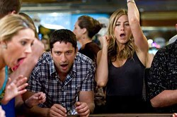 BARRY WETCHER / COLUMBIA - NOTHING TO CHEER ABOUT: Gerard Butler and Jennifer Aniston in The Bounty Hunter.