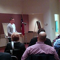 Occupier Michael Zytkow presenting to the Community Relations Committee
