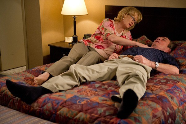 OLD COLLEGE TRY: Kay (Meryl Streep) and Arnold (Tommy Lee Jones) attempt intimacy in Hope Springs. (Photo: Columbia)