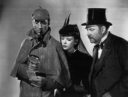 MPI - ON THE CASE: Basil Rathbone, Ida Lupino and Nigel Bruce in The Adventures of Sherlock Holmes, included in The Complete Sherlock Holmes Collection.