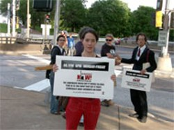 "JOAN VILLA - Pacifica Radio ""Democracy Now!"" staffer Tamiko - Beyer takes it to the streets in St. Louis during the - National Conference on Media Reform"