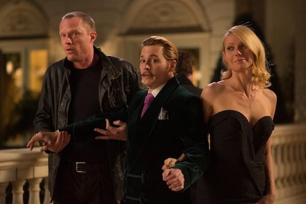 Paul Bettany, Johnny Depp and Gwyneth Paltrow in Mortdecai (Photo: Lionsgate)