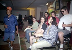 DANIEL COSTON - PERCHED FOR HUMOR Cast members (far left) Quay Rogers, (front row, left to right) Shannan Brice, David Pollack, Rodney Guillory, (back row, left to right) Nikki Frank, Jared Neumark and Pork Chop