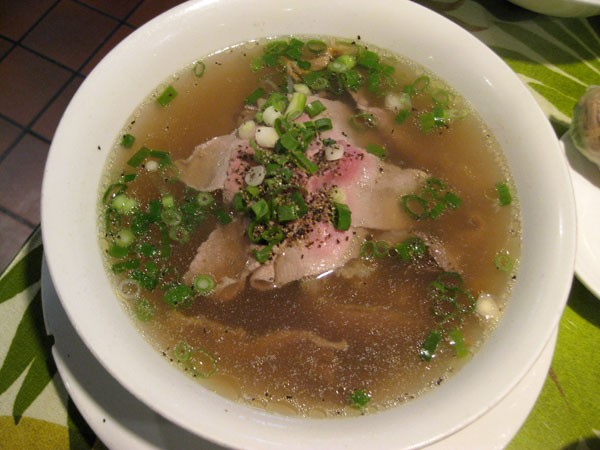Pho Tai Nam - Rare and well-cooked beef with rice noodle soup.