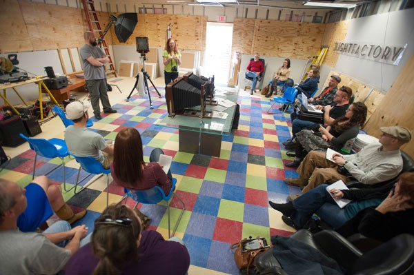 Photographer and TLF member Troy Tomlinson gives a wet plate demonstration in the new space. - DEBORAH TRIPLETT