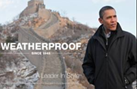 Obama promotes outdoorwear Weatherproof?