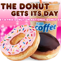 Friday, June 3: Free donuts for National Donut Day