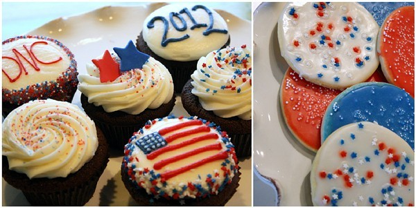 Polka Dot Bake Shop turns their cupcakes and cookies red, white, and blue for the DNC.