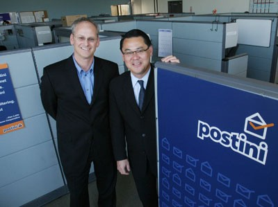 Postini founder Scott Petry, left, and President and CEO Shinya Akamine, in their Redwood City, California, headquarters. The anti-spam company helps companies cut down on junk e-mail. - PATRICK TEHAN