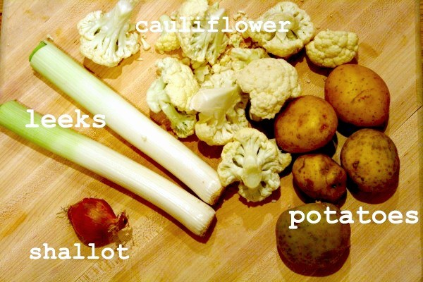Potato, Leeks, Cauliflower, and Shallot