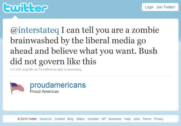 Proud American Zombie Tweet