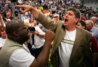 Randall Terry, right, enjoying himself at a rally