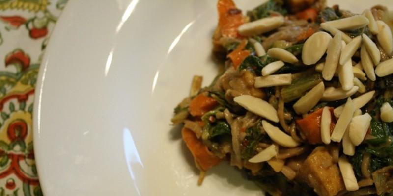 Recipe: Peanut Tofu Noodle with Greens