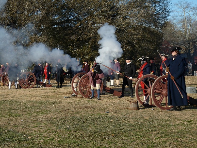 Reenactors salute every American president with cannon fire at Colonial Williamsburg on Feb. 14, 2010. Photo by Rhiannon Bowman.