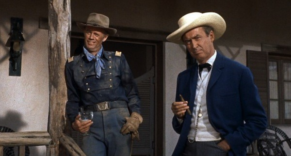 Richard Widmark and James Stewart in Two Rode Together (Photo: Twilight Time)