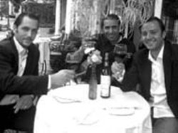 RADOK - RICK'S MEDITERRANEAN CUISINE From - left, co-owner Sonny Gur, Executive Chef Sid Taieb - and co-owner Rick Gur raise a glass at the Strawberry - Hill restaurant