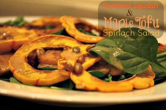 Roasted Squash and Maple Tofu Spinach Salad