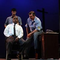 Ron McLelland (seated) as Virgil Tibbs, Robert Crozier (behind Tibbs) as Deputy Sam Wood and Lamar Wilson as Chief Gillespie (Photo: Chris Timmons)