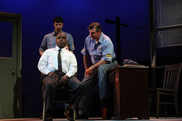 Ron McLelland (seated) as Virgil Tibbs, Robert Crozier (behind Tibbs) as Deputy Sam Wood and Lamar Wilson as Chief Gillespie (Photo: Chris Timmons)