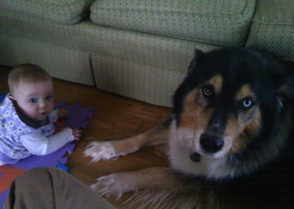 Sarah, 9 months, and Ronin
