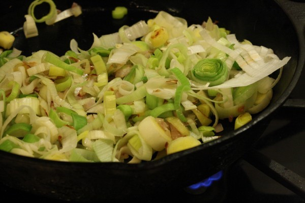 Sauté the leeks and shallots in some olive oil
