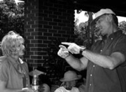 D. STEVENS/SONY PICTURES CLASSICS - SAYLES PITCH John Sayles and Edie Falco on the - set of Sunshine State
