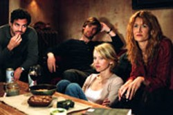 KIMBERLY FRENCH / WARNER INDEPENDENT PICTURES - SCENE FROM TWO MARRIAGES Mark Ruffalo, - Peter Krause, Naomi Watts and Laura Dern take a - break from the bickering in We Don't Live Here - Anymore