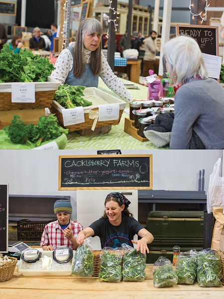 Scenes from a recent Saturday at Atherton Market include Karin Coto of Coto Family Farms (top) answering a customer's question and the folks with Cackleberry Farms restocking.