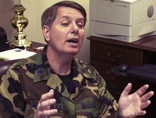 Sen. Lindsey Graham in his neat camo uniform outfit