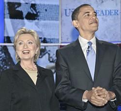 CHRIS FITZGERALD/CANDIDATEPHOTOS - Sens. Hillary Clinton and Barack Obama