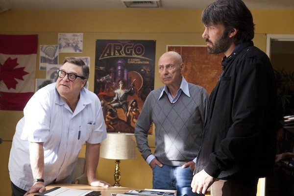 STILL IN HOLLYWOOD: Before heading to Iran, CIA specialist Tony Mendez (Ben Affleck, right) receives valuable guidance from filmmakers John Chambers (John Goodman) and Lester Siegel (Alan Arkin) in Argo. (Photo: Warner Bros.)