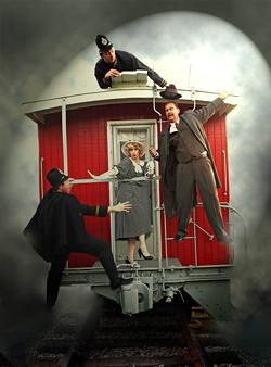 APHRODITE PHOTOGRAPHY - STRANGERS ON A TRAIN: (L-R) Greg McGrath, Rory Dunn, Dave Blamy and Maret Decker Seitz in The 39 Steps