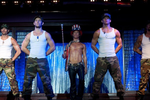 STUDS 'R US: Alex Pettyfer (second from left), Matthew McConaughey (center) and Channing Tatum (second from right) in Magic Mike (Photo: Warner Bros.)