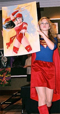 ANGIE GELLAR - Superwoman presides over the art auction at the Heroes Convention
