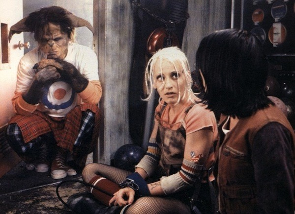 Tank Girl (Lori Petty) and one of her kangaroo-man buddies in Tank Girl (Photo: Shout! Factory)