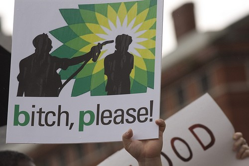 Thanks to Derek Bridges for the photo of this protest against BP in New Orleans last spring.