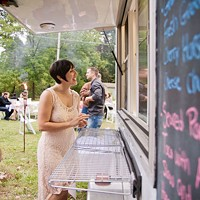 The author at her rehearsal dinner, catered by Roots Food Truck
