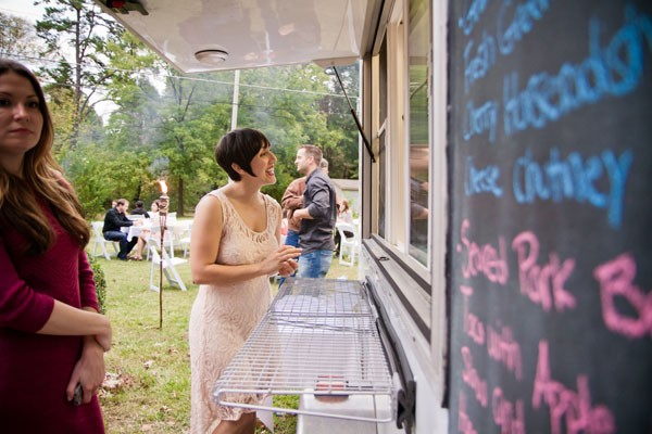 The author at her rehearsal dinner, catered by Roots Food Truck - CAT PENNENGA PHOTOGRAPHY