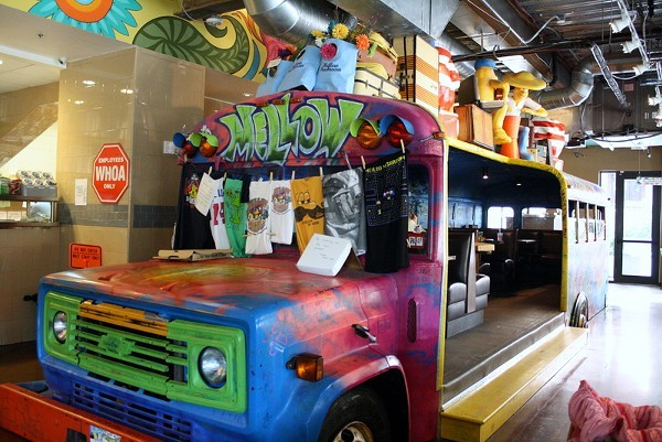 The best seat in the house -- The Mellow Mushroom bus