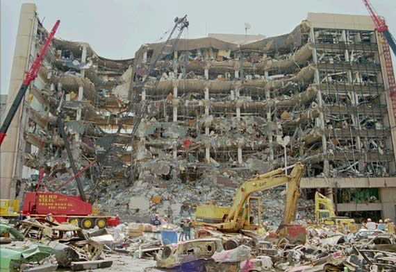 The bombed Murrah Building in Oklahoma City