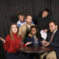 The cast of Beyond Therapy, Tania Kelly in the middle