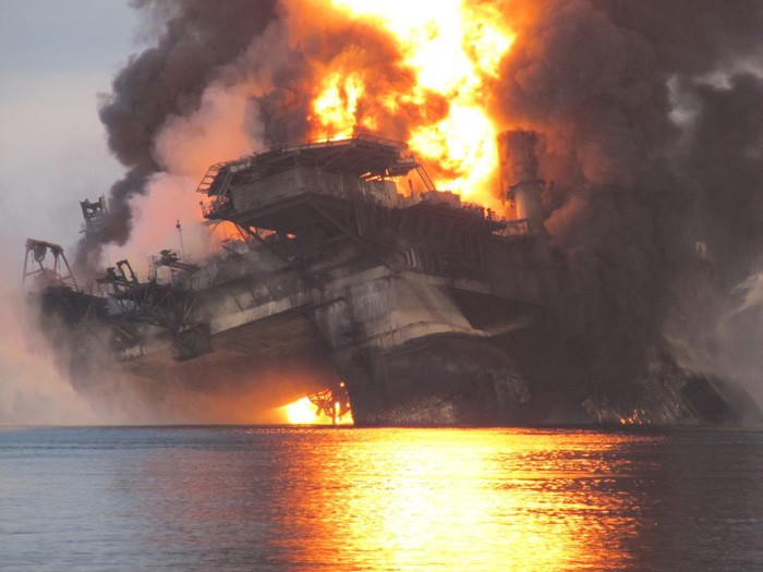 The Deepwater Horizon oil rig burns before sinking into the Gulf of Mexico  (Photo: Dept. of Energy)