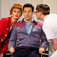THE EYES HAVE IT: Lucy (Sirena Irwin) and Ricky (Bill Mendieta) pay a visit to the eye doctor (Karl Hamilton) in I Love Lucy Live on Stage.