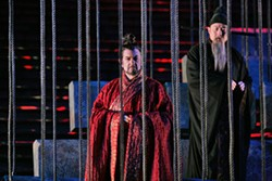 KEN HOWARD / METROPOLITAN OPERA - THE FIRST EMPEROR Placido Domingo as Emperor Qin and Haijing Fu as the Chief Minister