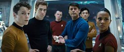 PARAMOUNT AND INDUSTRIAL LIGHT & MAGIC - THE GANG'S ALL HERE: Chekov (Anton Yelchin), Kirk (Chris Pine), Scotty (Simon Pegg), Dr. McCoy (Karl Urban), Sulu (John Cho) and Uhura (Zoë Saldana) in Star Trek.